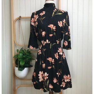 Mink Pink Black floral Flutter Sleeve Dress
